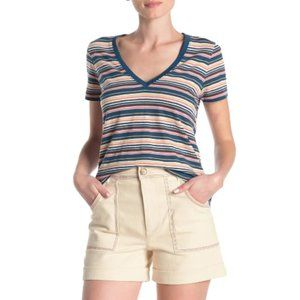Madewell Frisbee Stripe V-Neck T-Shirt, Size Small